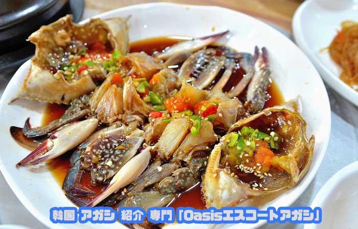 韓国アガシ と カニ料理